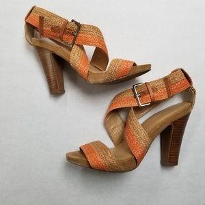 NINE West Woven Chunky High Heel Sandal Tan
